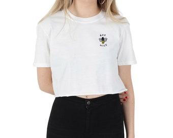 006f79572c975 Bee Nice Pocket Crop T-shirt Top Shirt Tee Cropped Fashion Blogger Grunge  Cute Be