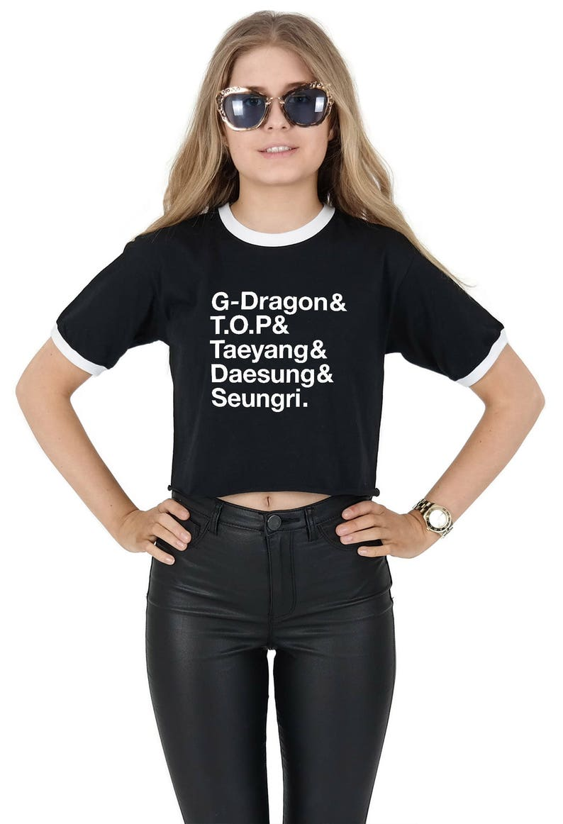 2f53a407111af Big Bang Names Crop Ringer Top Shirt Tee Cropped Fashion