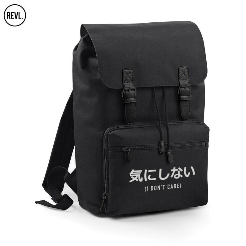 dd1d9bd9cd Japanese I Don t Care Backpack Bag Slogan Back Pack