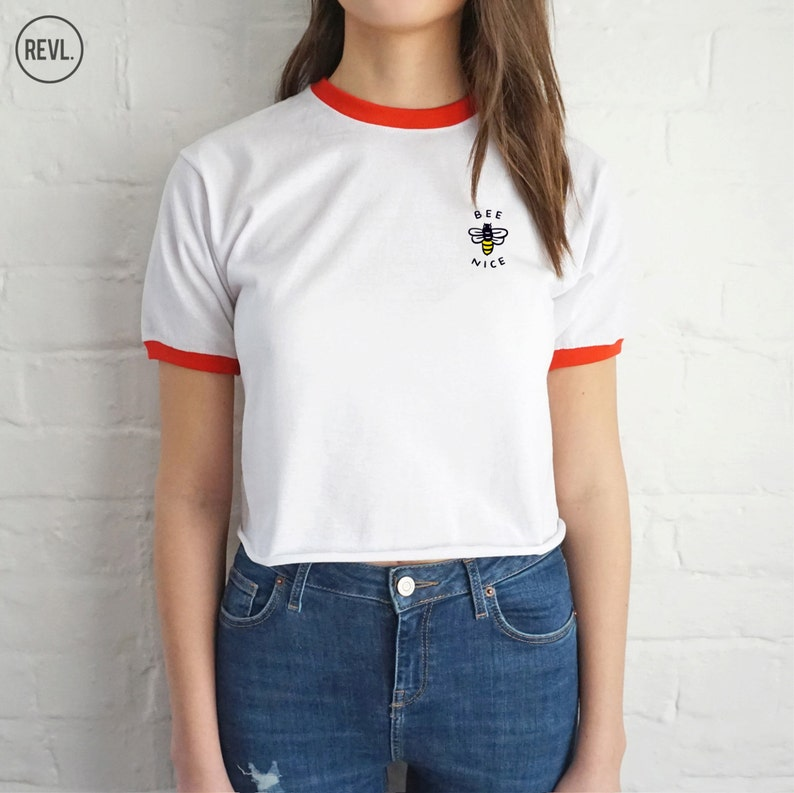 fcff1f7efa12e Bee Nice Crop Ringer Top Shirt Tee Cropped Fashion Blogger