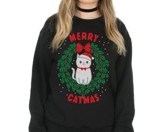 Merry Catmas Sweatshirt Sweater Jumper Top Christmas Xmas Slogan Crazy Cat Lady