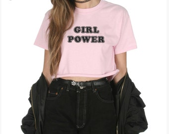 Girl Power Crop T-shirt Top Shirt Tee Cropped Fashion Blogger Slogan Tumblr Grunge Grl Pwr