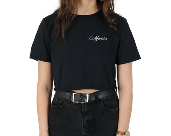 Pocket California Crop T-shirt Top Shirt Tee Cropped Fashion Blogger Slogan Cali Summer