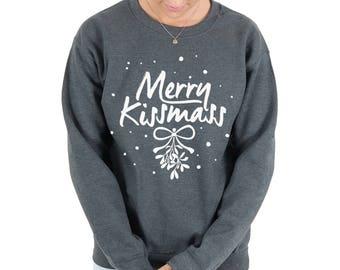 Merry Kissmas Sweatshirt Sweater Jumper Christmas Top Xmas Funny Kiss Mistletoe