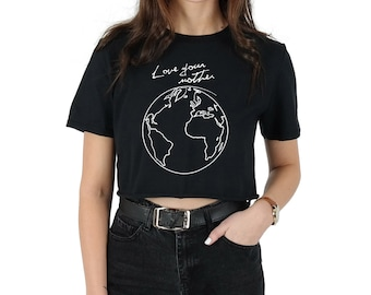 Love Your Mother Crop Top Shirt Tee Cropped Fashion Earth Space