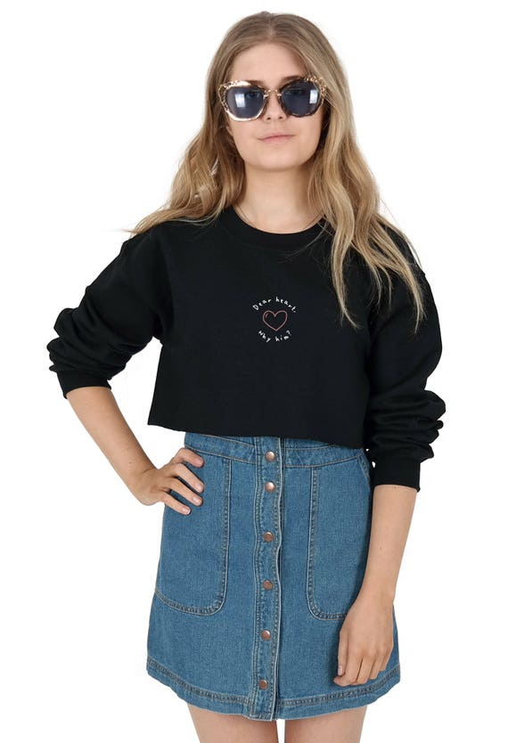 44be9edd1 Dear Heart Why Him Crop Sweater Jumper Sweatshirt Cropped