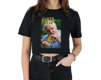 Sir David Attenborough Crop T-shirt Top Shirt Tee Cropped Fashion Fangirl 90's Retro