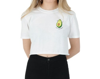 Let's Avocuddle Pocket Crop T-shirt Top Shirt Tee Cropped Fashion Funny Grunge Avo Cuddle