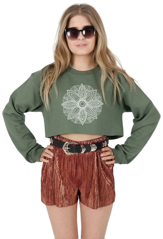 1c09de921 Mandala Boho Crop Sweater Jumper Sweatshirt Cropped Fashion