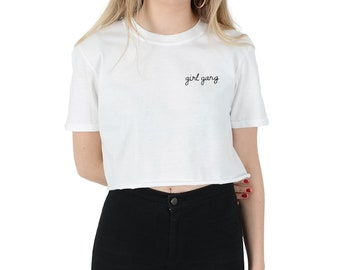 Pocket Girl Gang Crop T-shirt Top Shirt Tee Cropped Fashion Blogger Slogan Tumblr Grunge