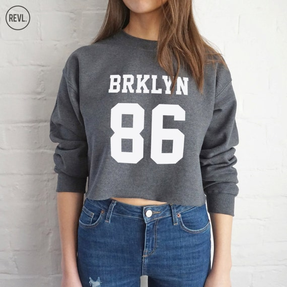 d8d2e48e3 BRKLYN 86 Sweater Jumper Sweatshirt Cropped Brooklyn Sports