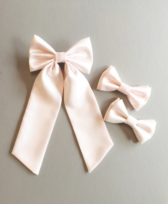 Satin Ribbon Bow Tie with a Cluster of Beads 100 Bows Choice of 16 Colours