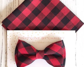 Red buffalo plaid bowtie - Daddy and son - Dog bowtie - Pet bow ties- Red black bowtie -Red plaid bowtie- buffalo check bowtie-red plaid bow
