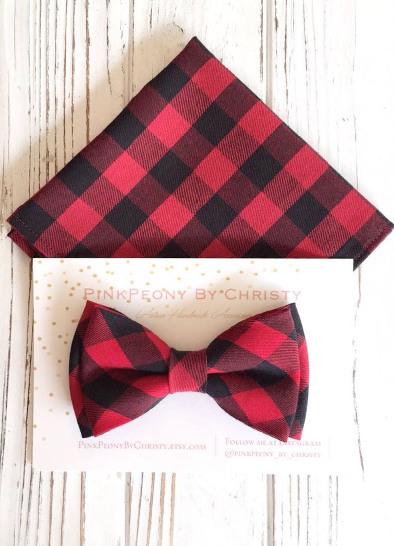 cb292d1cdef9 Red buffalo plaid bowtie Daddy and son Dog bowtie Pet | Etsy