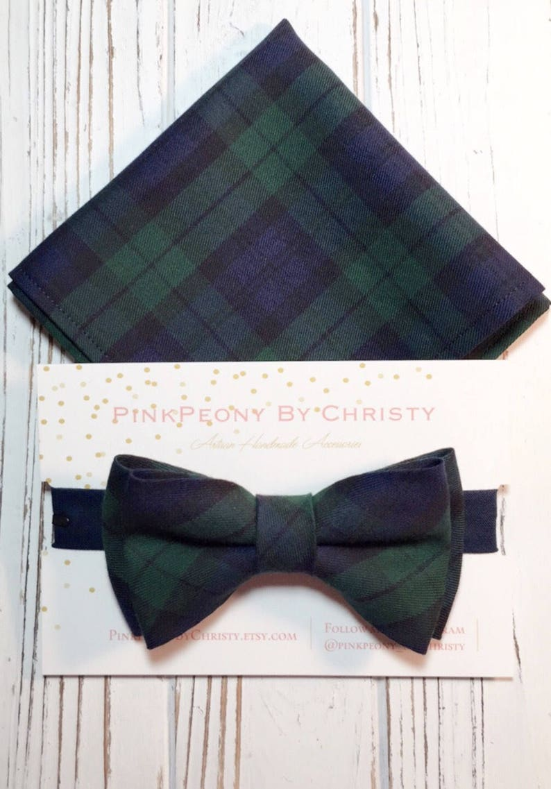 960aa7984023 Navy and dark green plaid bowties Daddy and son brothers | Etsy