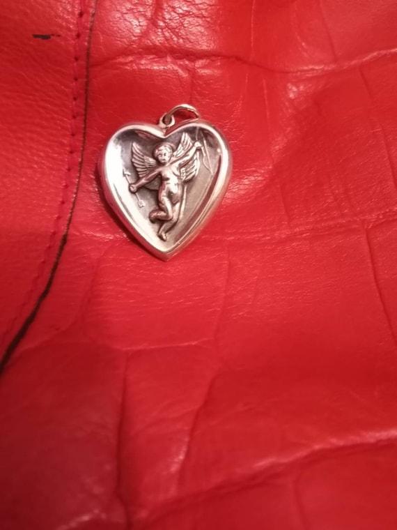 Vintage Silver Repousse Heart Cupid Locket Pendant