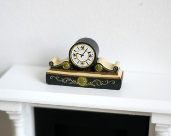 1:12 Scale Table Mantle Clock Dollhouse Miniature Doll House Ornate Decorative