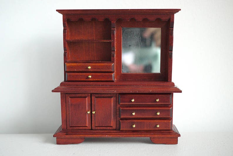 SALE/_Dollhouse kitchen wood cabinet with mirror dolls house multipurpose storage 1:12 th scale miniature furniture