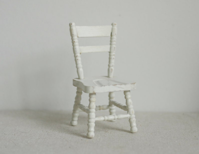 1:12 Dollhouse Miniature Doll Furniture Chic White Wooden Dining Chair Stool \