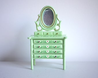 Dollhouse dressser mirror dolls house bedroom green standup glass mirror 1 12th scale miniature