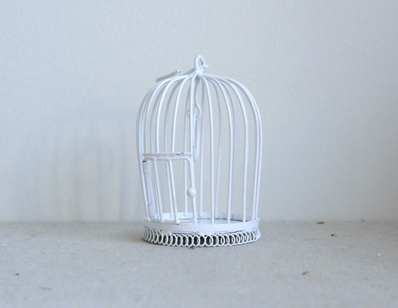 DOLLS HOUSE 1//12 SCALE WHITE METAL BIRDCAGE LARGE