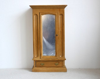 Dollhouse bedroom closet w/ mirror dolls house dresser 1 12th scale miniature wooden dresser