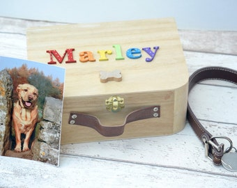 Dog memory box -Pet lover Gift-Dog Wooden Keepsake Box - Personalised Pet - Pet memorial- Dog Memorial - Popsyclunk
