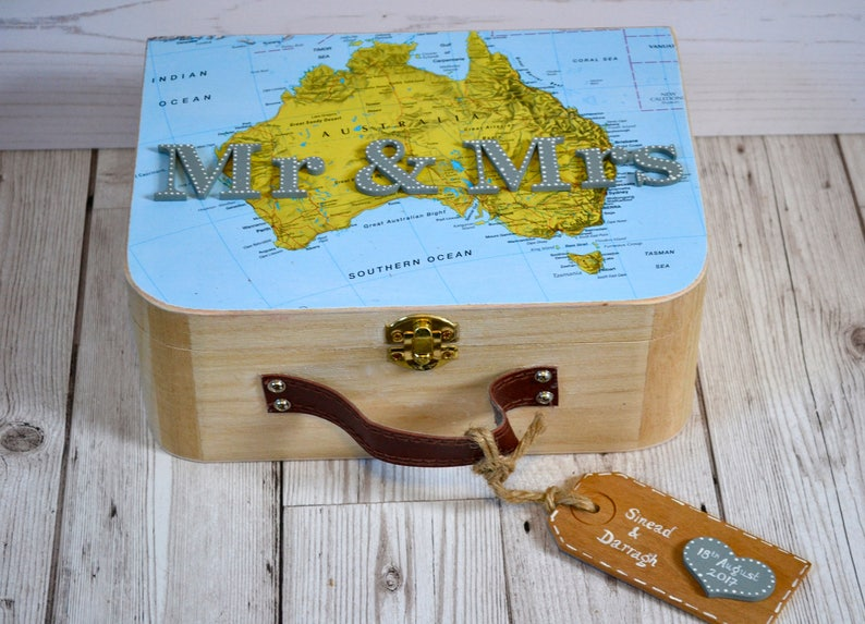 Mr Mrs Travel Keepsake Box Couples Wedding Memory Box Wedding Travel Gift