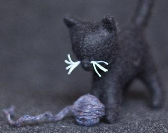Waldorf Cat //Stuffed Cat //Waldorf toy //Stuffed animal //Black Cat