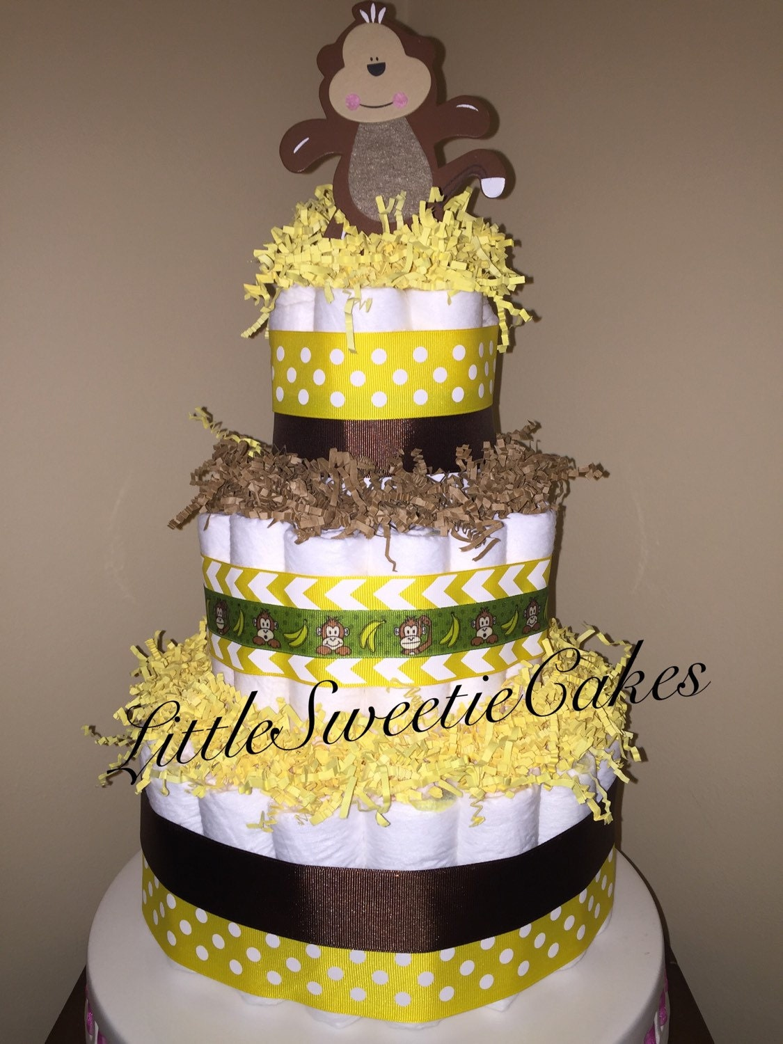 Monkey diaper cake 3 tier yellow and brown diaper cake   Etsy