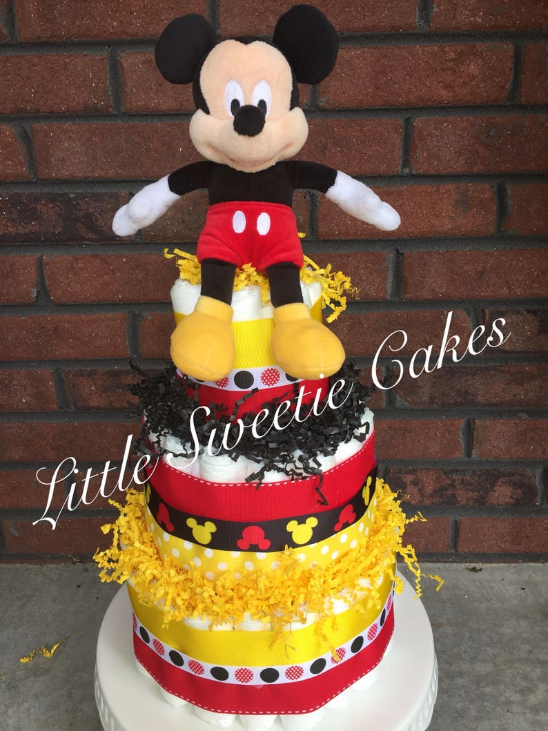 Mickey Mouse Disney Diaper Cake Red Yellow Black Diaper Cake Etsy