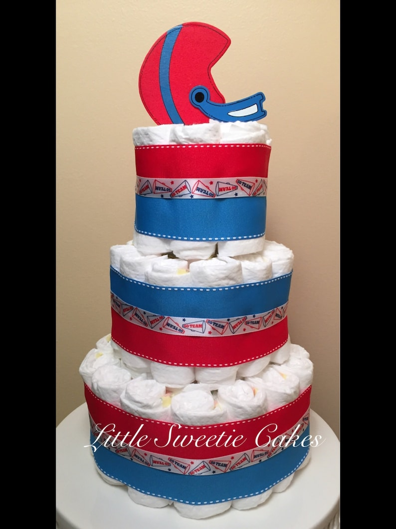 3 Tier Sports Football Diaper Cake Red White Blue Diaper Etsy