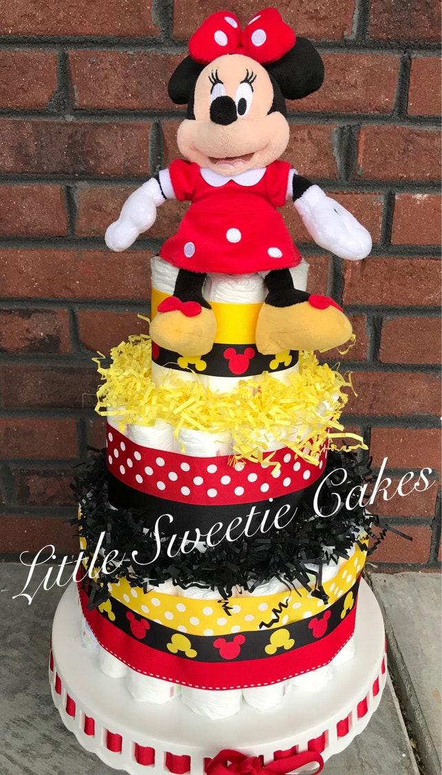 Minnie Mouse Disney Diaper Cake Red Yellow Black diaper cake   Etsy