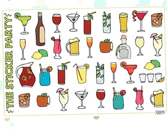 Cocktails & Alcoholic Drinks Planner Stickers