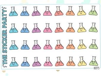 Kawaii Science Beaker Planner Stickers (Volumetric Flasks)
