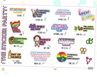 LGBTQ+ Awareness Days Planner Stickers