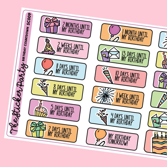 Birthday Countdown Planner Stickers Etsy