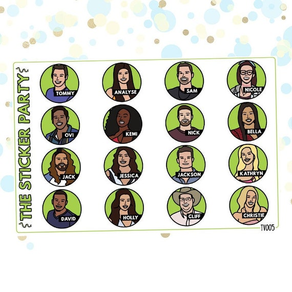 BB21 Cast Doodles Big Brother US TV Show Planner Stickers #BB21