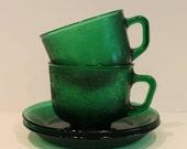 Set of 2 Emerald Green Gl...