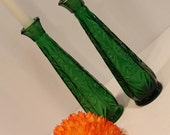 Vintage Green Bud Vases -...