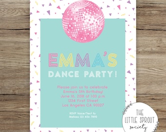 Dance Party Birthday Invitation