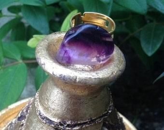 Purple Fluorine crystal ring