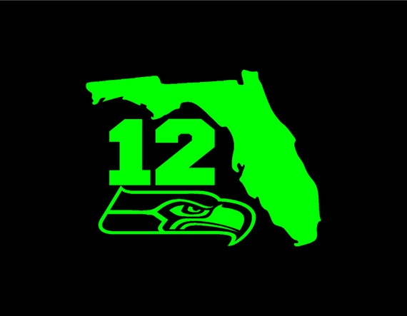 Florida 12 Outline Seahawks Vinyl Window Decal Pick Your Size And Color