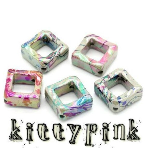 15 Kitsch Acrylic 23mm Square Cube Mixed Colour Spacer Beads Plastic Necklace