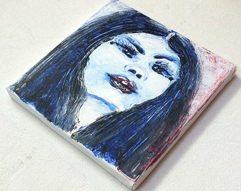 Portrait black hair - small painting in acrylic on canvas