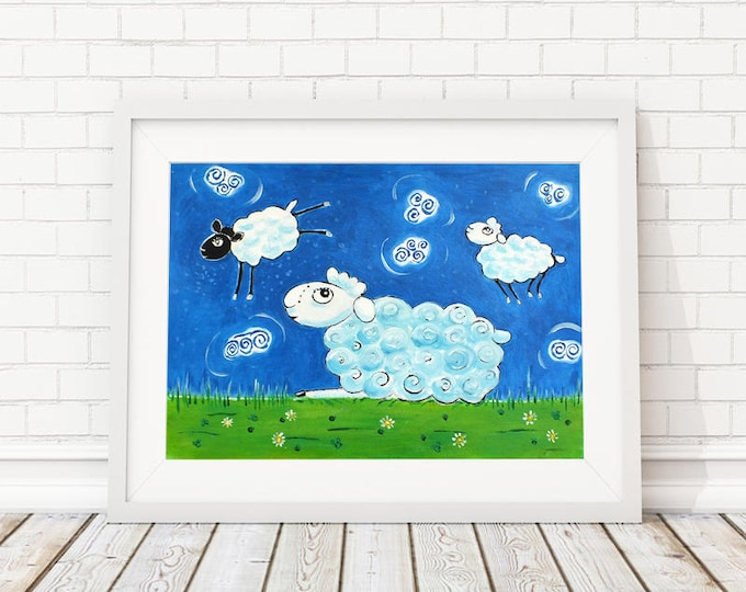 Sheep - graphic acrylic painting on paper