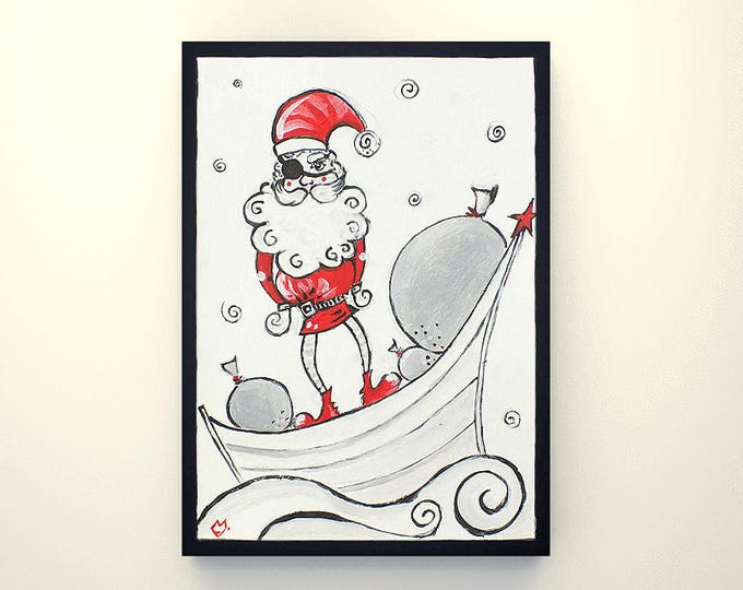 Pirate Santa Claus - graphic acrylic painting on paper