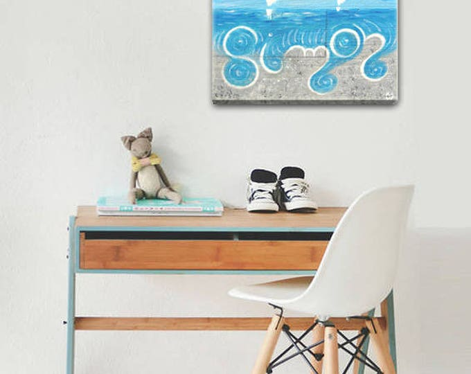 Wave on beach - personalized painting acrylic on wood