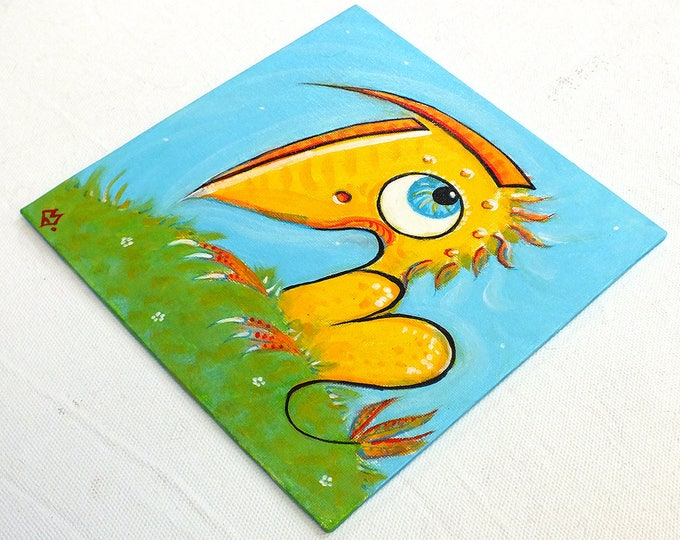 Bird dyno - customizable acrylic on canvas painting