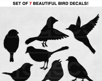 Birds Wall Decal Vinyl Wall Sticker - Set of 7 Birds Total - A Todeco Product  sc 1 st  Etsy & Bird wall decals set of 5 birds bird vinyl decal bird